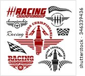 set of car racing emblems and... | Shutterstock .eps vector #346339436