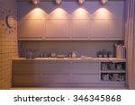 3d render of the one room... | Shutterstock . vector #346345868