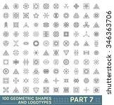 big set of 100 geometric shapes.... | Shutterstock .eps vector #346363706