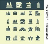 buildings  houses  icons  signs ... | Shutterstock .eps vector #346365752