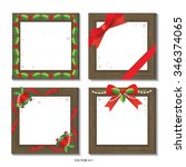 wooden frame christmas set | Shutterstock .eps vector #346374065