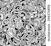 cartoon hand drawn music... | Shutterstock .eps vector #346376858
