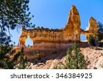 landscape of red hoodoos in... | Shutterstock . vector #346384925