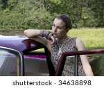beautiful girl at the car on a... | Shutterstock . vector #34638898