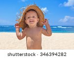 on sunny white sand beach muddy ... | Shutterstock . vector #346394282