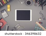 creative top view tablet pc. | Shutterstock . vector #346398632