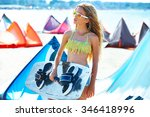 blond kite surf teen girl in... | Shutterstock . vector #346418996