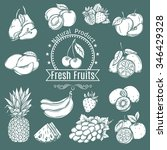 set decorative fruits and... | Shutterstock .eps vector #346429328