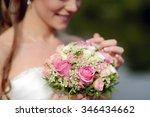 beauty bride in bridal gown... | Shutterstock . vector #346434662