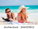 mother and daughter enjoying... | Shutterstock . vector #346455812