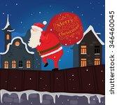 santa on the roof. christmas... | Shutterstock .eps vector #346460045