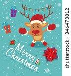 vintage christmas poster design ... | Shutterstock .eps vector #346473812