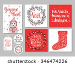 set of creative christmas hand... | Shutterstock .eps vector #346474226