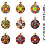 set of 9 varicolored isolated... | Shutterstock .eps vector #346502852