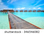 tropical beach in maldives... | Shutterstock . vector #346546082