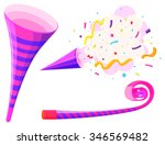 party horn and musical straw... | Shutterstock .eps vector #346569482