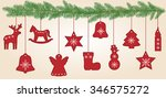 fir branches with christmas... | Shutterstock .eps vector #346575272