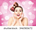 beautiful smiling girl with a... | Shutterstock . vector #346583672