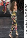 Small photo of New York, NY - September 11, 2015: Brenda Freitas walks the runway at the Betsey Johnson fashion show during the Spring Summer 2016 New York Fashion Week at The Arc - Skylight Moynihan Station