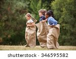 interracial group of kids... | Shutterstock . vector #346595582