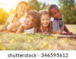 interracial group of children... | Shutterstock . vector #346595612