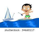 baby surfing and playing with... | Shutterstock .eps vector #34660117