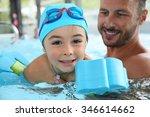 little boy learning how to swim | Shutterstock . vector #346614662