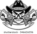 cowboy skull with hat  lasso ... | Shutterstock .eps vector #346626356