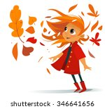 cartoon cute smiling girl in... | Shutterstock .eps vector #346641656