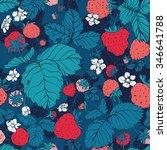 seamless pattern of strawberries | Shutterstock .eps vector #346641788
