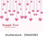 abstract hanging pink heart... | Shutterstock .eps vector #34664383