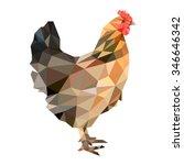 hen in low polygon style on... | Shutterstock .eps vector #346646342