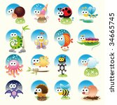 family of funny animals | Shutterstock .eps vector #34665745