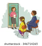 school principal talking to... | Shutterstock .eps vector #346714265