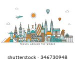 travel and tourism background.... | Shutterstock .eps vector #346730948