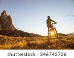mountainbiker in the dolomite... | Shutterstock . vector #346742726