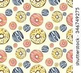 donut pattern watercolor  | Shutterstock . vector #346749275