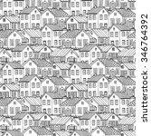 beautiful monochrome houses set ... | Shutterstock .eps vector #346764392