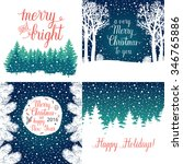 merry and bright christmas ... | Shutterstock .eps vector #346765886