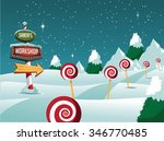 merry christmas north pole... | Shutterstock .eps vector #346770485