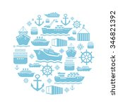 Ship And Boat Icons Background...