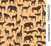 seamless pattern with brown... | Shutterstock .eps vector #346843205