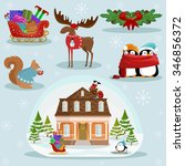 christmas and new year holiday... | Shutterstock .eps vector #346856372