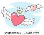 hearts with wings  sky with... | Shutterstock .eps vector #346856996