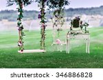 wedding swing decorated with... | Shutterstock . vector #346886828