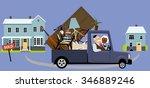senior couple moving their... | Shutterstock .eps vector #346889246