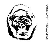 graphic image of a monkey's head   Shutterstock .eps vector #346901066