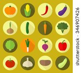 vector vegetable colorful icons.... | Shutterstock .eps vector #346907426