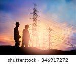 silhouette engineer working  in ... | Shutterstock . vector #346917272