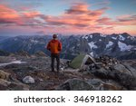 Hiker At Sunset In North...